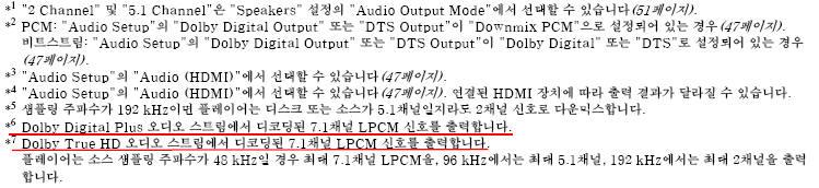 Dolby TrueHD, DTS-HD의 7.1채널 음성 신호 출력 방법은 무엇인가요?
