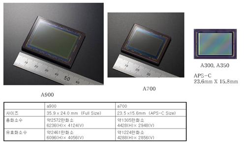 풀프레임바디(A900)와 크롭바디(A100,A200,A300,A350,A700)의 이미지센서 크기는 어떻게 되나요?