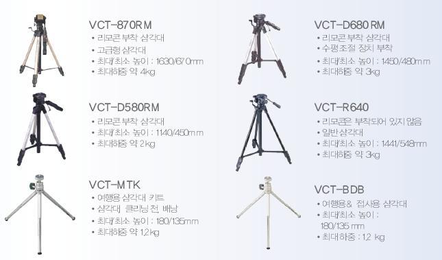 DCR-SR시리즈에 사용할 수 있는 삼각대 종류와 특징을 알려 주세요.