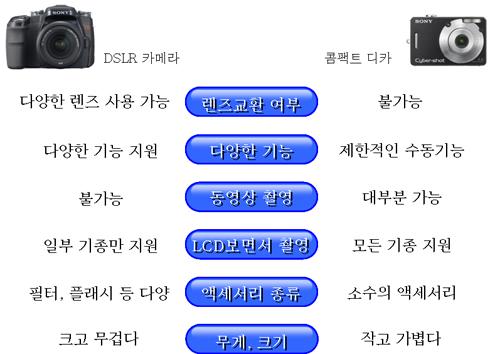 DSLR 카메라와 일반 콤팩트 DSC 카메라의 차이점을 알려주세요.
