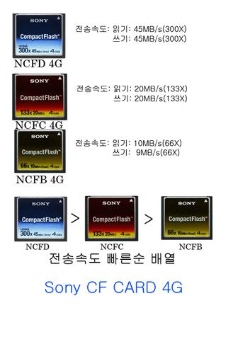 Sony CF 카드 3가지의 모델 별 차이점은 무엇인가요?