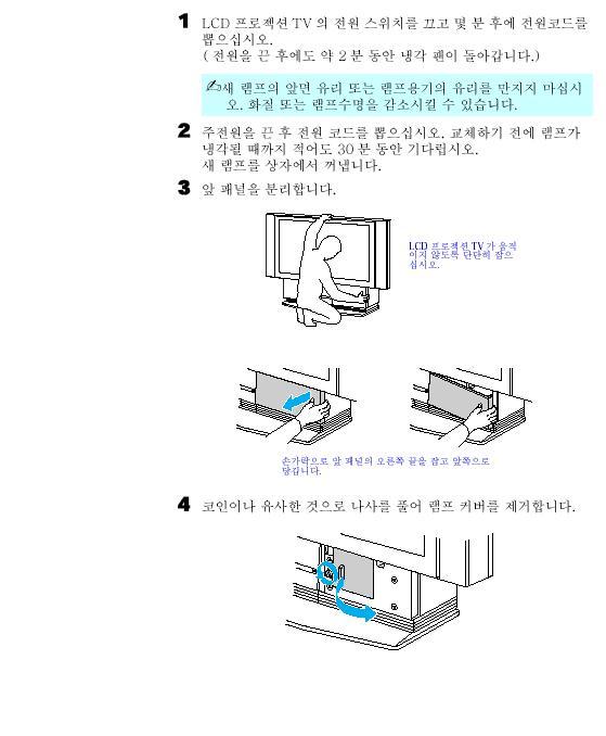 KF-50DX200K,60DX100,200K의 램프 교환 방법 세부 안내