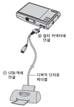픽트 브릿지(PictBridge) 대응 프린터를 직접 연결하여 출력하는 방법